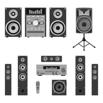 Vector set of audio and music systems icons. Loudspeakers isolated on white background.