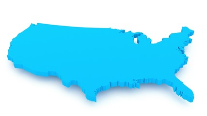 3D render of USA map isolated on white background, close up