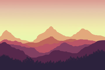 illustration of orange peak mountain and hill and orange gradient sunset sky. foreground with tree and forest