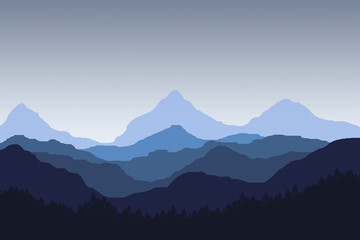 illustration of blue peak mountain and hill and dark blue gradient sunset sky. foreground with tree and forest