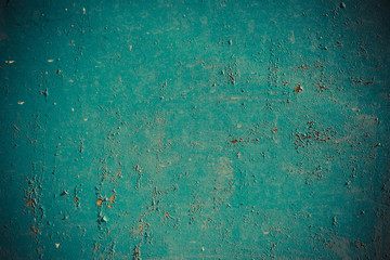 Old metal wall painted in turquoise color use for background