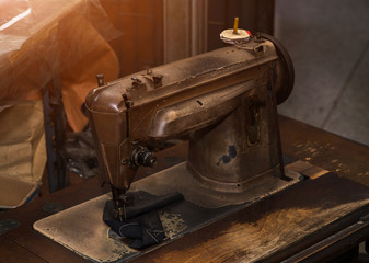 old sewing machine with treadle