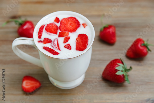 Ceramic cup of yogurt red fresh strawberries on the wooden background breakfast organic healthy - Refreshing dishes yogurt try summer ...