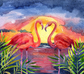 watercolor landscape sunset