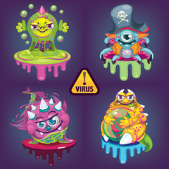 vector cartoon virus set