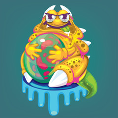 vector cartoon fat virus
