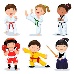 Martial arts kids. Children fighting, judo, taekwondo, karate, k
