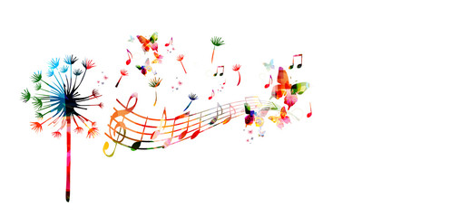 Colorful dandelion with music notes and butterflies