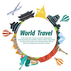 illustration travel the world on white background.