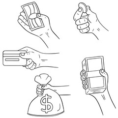 vector set of hand holding money