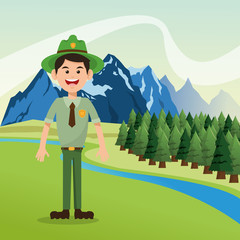 Forest ranger with landscape of pine trees and mountains design