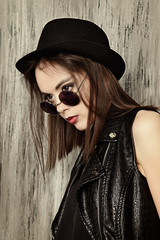 hat and leather jacket