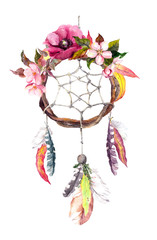 Dream catcher - feathers, leaves, flowers. Autumn watercolor, boho style