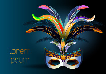 Silver festival carnival mask with colored feathers and gold ornaments on a dark background.