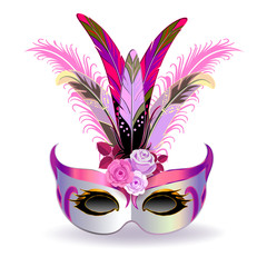 The silver carnival mask with multicolor feathers. The mask decorated with pink pattern and pink roses.