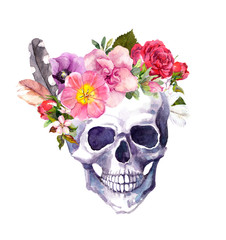 Human skull with flowers and feathers, boho style. Watercolor