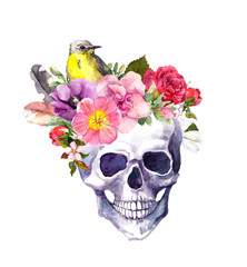 Human skull - flowers, bird in boho style. Watercolor