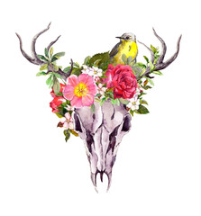 Deer animal skull with flowers and bird. Watercolor