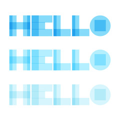 Hello vector word lettering modern transparent style