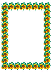 Vertical frame with sunflowers. Vector clip art.