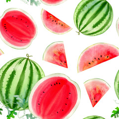watercolor hand painted seamless pattern with watermelon