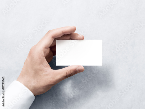 hand hold blank plain white business card design mockup clear