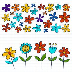 Vector set of doodle flowers