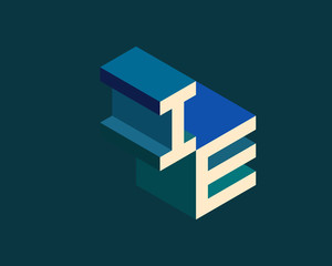 IE isometric 3D letter logo. three-dimensional stock vector alphabet font typography design.
