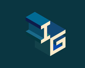 IG isometric 3D letter logo. three-dimensional stock vector alphabet font typography design.