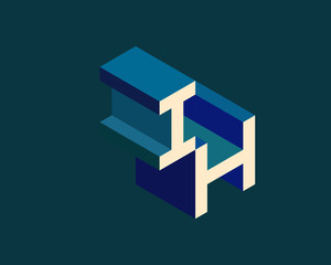 IH isometric 3D letter logo. three-dimensional stock vector alphabet font typography design.