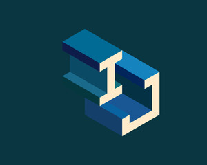 IJ isometric 3D letter logo. three-dimensional stock vector alphabet font typography design.