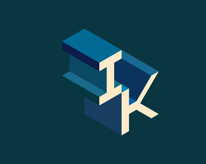 IK isometric 3D letter logo. three-dimensional stock vector alphabet font typography design.