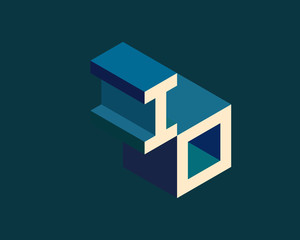 IO isometric 3D letter logo. three-dimensional stock vector alphabet font typography design.