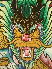 Painting dragon on the wall in temple of Thailand