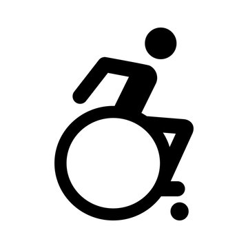 Modern wheelchair or handicap / handicapped sign flat icon for apps and websites