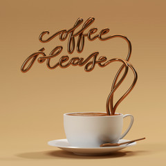 Coffee please quote with cup, typography poster. For greeting cards, prints or home decorations 3D rendering 3D illustration
