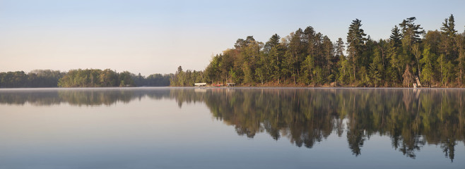 Door stickers Lake Panorama of Northern Minnesota Lakeshore on a Calm Morning Durin