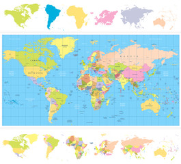Fototapete - Colored political World Map with continnets