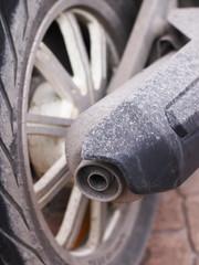 motorbike Exhaust, bike, motor, wheel, exhaust, dirty motorbike wheel