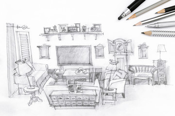 drawing of a modern living room and drawing tools on paper