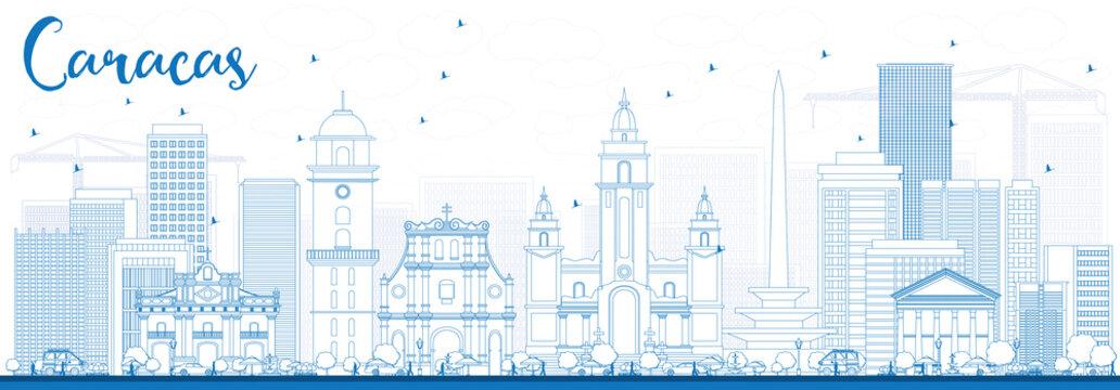 Outline Caracas Skyline with Blue Buildings.