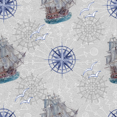 Nautical background with blue compass, gulls and ship