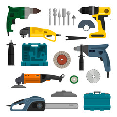 Vector set of power electric tools. Repair and construction working equipment.