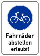 gsb3 GebotsSchildBlau ks85 Kombi-Schild - Fahrräder abstellen erlaubt - A2 A3 A4 Plakat - g4464