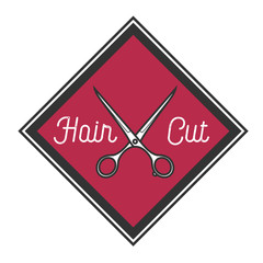Color vintage barbershop emblem