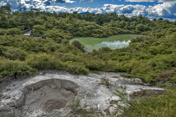 The bathing waters of Hatupatu near Whakarewarewa Geyser at Te Pui thermal park in geothermal valley of Rotorua, New Zealand