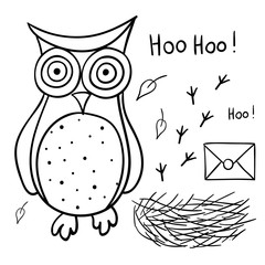 Cute cartoon wise owl with mail, nest, footprints