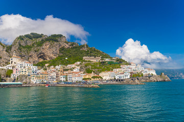 Beautiful town of Amalfi,front view, Amalfi coast, Campania, Italy
