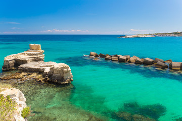 Amazing coastal sceneries of Otranto town, Salento peninsula, Puglia region, Italy