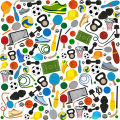 pattern of different sports equipments